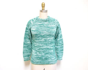 Vintage 1970s Sweater | Green and White 1970s Space Dye Sweater | size xs - small