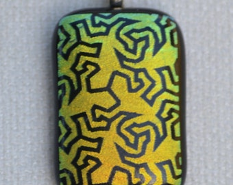 Dichroic Gecko Fused Glass Necklace, Dichroic Fused Glass Pendant, 18 inch necklace, Yellow/Green/Gold Dichroic Fused Glass Necklace, Gecko