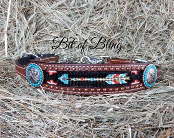 Arrow Crossed Arrows Beaded Leather Wither Strap Horse Tack Rodeo Barrel Racing Pole Bending Trail Riding Western