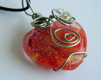 Red and Yellow Heart Pendant Fused Glass Wire Wrapped Heart Pendant Necklace