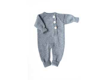 Knit baby romper - Knit overalls - Baby coveralls - Baby clothes - Toddler clothes - Girl wool overall - Brown boy romper - Wool clothes