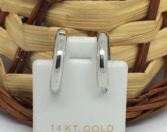 14K White Gold Plain Hoop Earrings