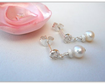 Little Girls Earrings Flower Girl Jewelry Pearl Earrings with Sterling Silver and CZ E057