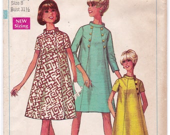 FF 1960s Simplicity 7494 Maternity Dress, A Line Dress, Stand Up Collar Vintage Sewing Pattern, Size 8, Bust 31 1/2, UNCUT