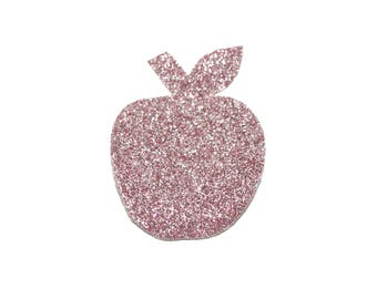 Apple brooch pink glitter