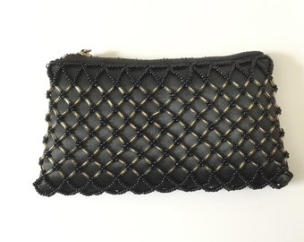 Vintage purse, black beaded purse, Made in Hong Kong, beaded coin purse, 1950s purse, vintage evening purse, black purse, gift for her,
