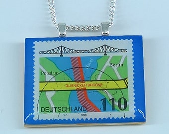 German Glienicke Bridge (Glienicker Brücke) Berlin Potsdam Vintage Postage Stamp Pendant Necklace 1998