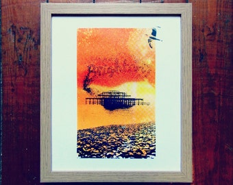 Brighton Pier Starling Screen Printed Poster Art Screen Print by Or8 Design