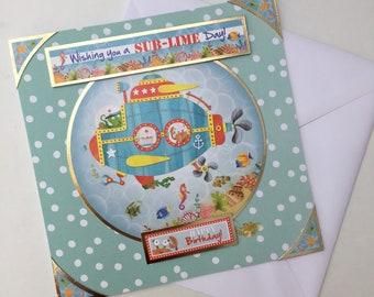 Submarine | Happy Birthday | Children's handmade card