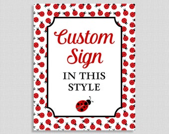 Custom Made Sign, Ladybug Baby Shower Table Sign, Party Decorations, Red, Baby Girl, DIY Printable