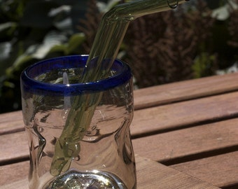 Glass Bended Straws - 2 - Regular Size - Tea Green Glass - Reusable and Eco-Friendly -  Lifetime Guarantee