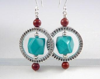 Turquoise Drop Earrings, December Birthstone Jewelry, Western Earrings, Western Jewelry, Mom Gift Ideas, Circle Earrings