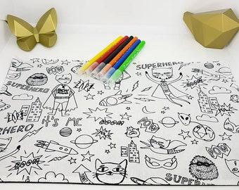 Coloriage lavable zéro déchet chat super héros. Format set de table 23 cm par 35 cm