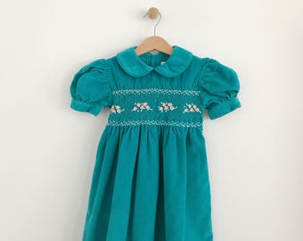 Vintage Toddler Girl Teal Corduroy Smocked Dress | Green Embroidered Special Occasion Dress | size 4 youth