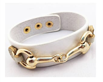 Equestrian Adjustable snaffle Horse bit gold plated on Leather cuff  Bracelet with suede lining