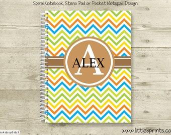 Brown Yellow Green & Orange Chevron Monogram Personalized Spiral Notebook Back to School Notebook