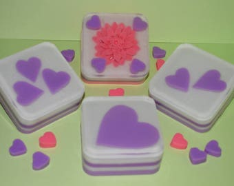HandMade Soaps with purple hearts.