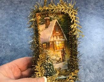 Walking the Dog on Christmas Eve / Christmas Card Shadowbox / Diorama