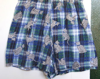 90's CATS ON PLAID flannel boxer shorts