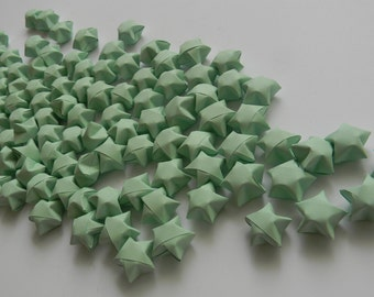 100 pieces Origami lucky star, Origami wishing star, Pastel Green