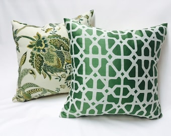 Set of Two Custom Design Custom Pillow Covers- Green Nature Motif and Geometric Pillow Covers
