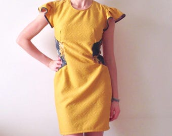 Short dress, sheath dress, yellow dress, little dress, mustard dress, short sleeves dress, adherent dress, winter dress, woman dress