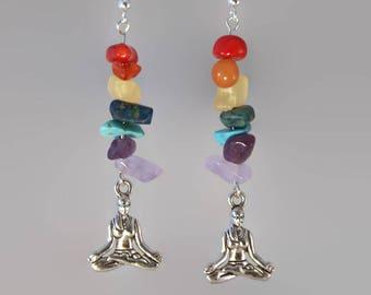 Chakra yoga earrings,  yogi jewelry gift, yoga lotus position earrings, chakra earrings, spiritual earrings. yoga earrings.