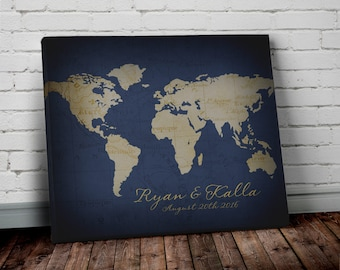 Navy world map wall art canvas world map print in navy blue personalized wedding gift world map wall art canvas world map print in navy blue and gumiabroncs Image collections
