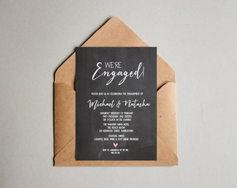 Black and White Engagement Chalkboard OR Wedding Invitation