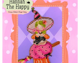 Brooke's Books Hannah The Happy Witchie-poo Ornament INSTANT DOWNLOAD Cross Stitch Chart