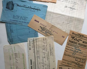 Lot of vintage receipts | 40 pieces | old paper collage materials altered art | 1950s Portland Oregon ephemera | yellowed aged paper