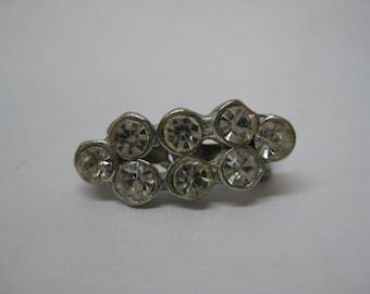 Rhinestone Clear Silver Brooch Vintage Pin