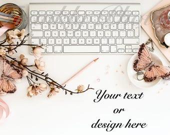 Pink Grey & White Desk Styled Stock Photo / Styled Stock Photography / Flatlay / Lifestyle Image / Desktop Mockup / Frankly Photos File #39