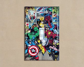 Marvel Super Heroes Superheroes 3   Light Switch Plate Covers Home Decor  Outlet