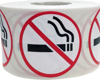 """Small 0.75"""" Round No Smoking Stickers 