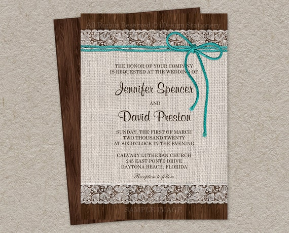 Burlap Wedding Invitations Diy: Items Similar To Printable Burlap And Lace Wedding