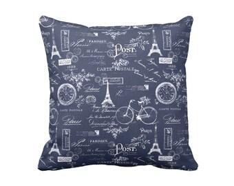 Navy Blue Pillow Cover Indigo Blue Throw Pillows Decorative Pillows for Couch Paris Pillows with Words