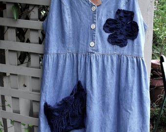 Funky Denim Dress/ Denim and Chenille/ Artsy Embellished/ Fabric Art/ Junked up Sundress/ Romantic Denim/ Chic and Shabby/ Sheerfab Handmade