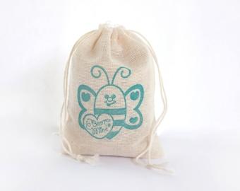 Bee Mine Valentine's Bag 6 muslin cotton favor bag with stamp goodies treat bag