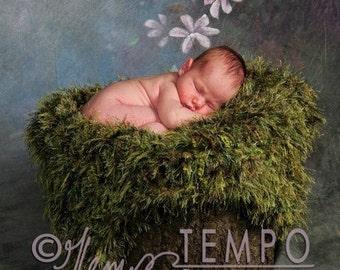 Grass Prop Mossy Baby Blanket Photo Prop. Green 'Grass' Outdoor Look Infant Newborn Photography Prop