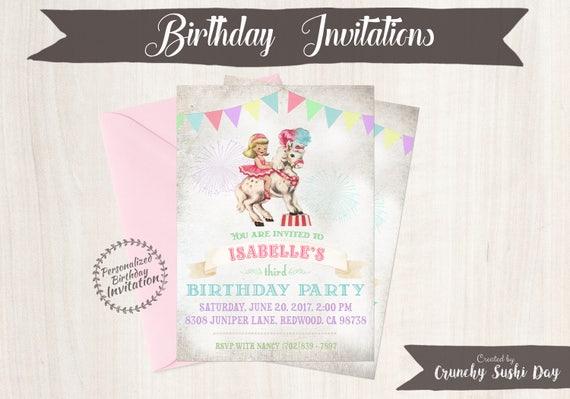 Vintage Carnival Customizable Birthday Invitations, Horse, Circus, Girl Birthday, Carnival, Printable Invitations, Pony, Cowgirl 049