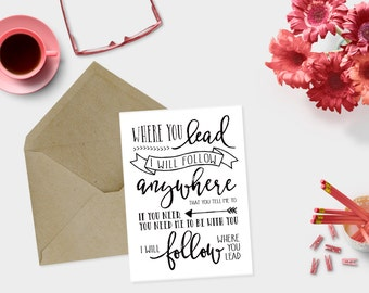 Gilmore Girls- Where You Lead, I Will Follow Lyrics GREETING CARD- Lorelai and Rory, theme song, Stars Hollow, Best Friends, Mom Daughter