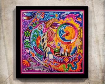 Huichol Print, Mexican Art, Mexican Digital Art, Mexican decor, Huichol Art, Mexican Print, Digital Print, Mexican wall art,Mexican Painting