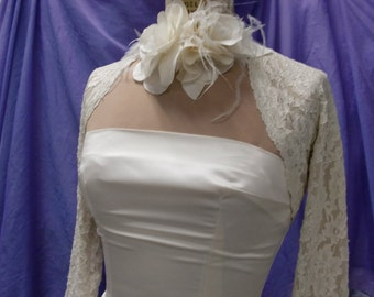 BRIDAL SHRUG, Wedding Cover Up, Lace Bolero, Stretch Lace 3/4 sleeves