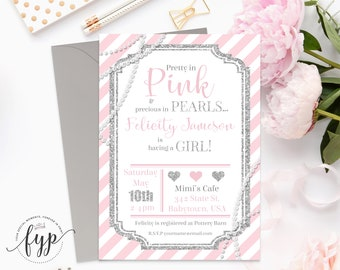 Baby Girl Shower Invitation Printable Glitter and Pearls Invite