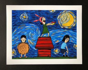 The Belcher's Starry Night Poster Print / louise belcher / tina belcher/ gene belcher/  11x14 print / poster print  /bobs burgers