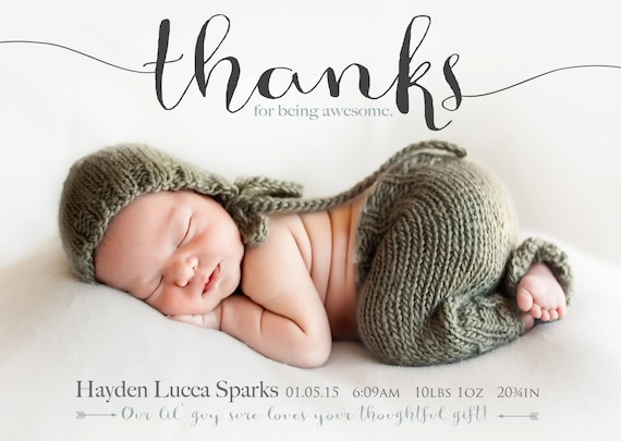 thanks for being awesome birth announcement photo card