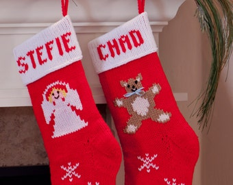 Hand-knitted Personalized Christmas Stockings: Angel