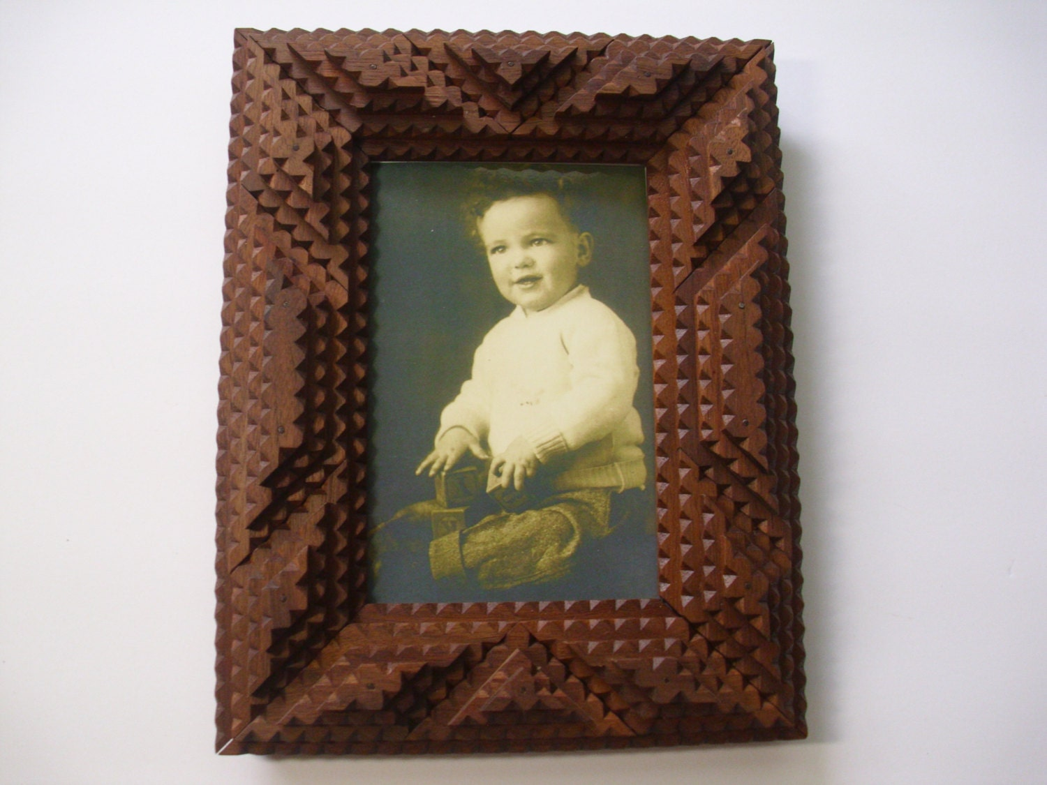 Handcarved Wood Tramp Art Frame Wood Picture Frame Folk Art