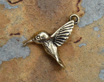 1 Antique Gold Hummingbird Charm -  Nunn Design
